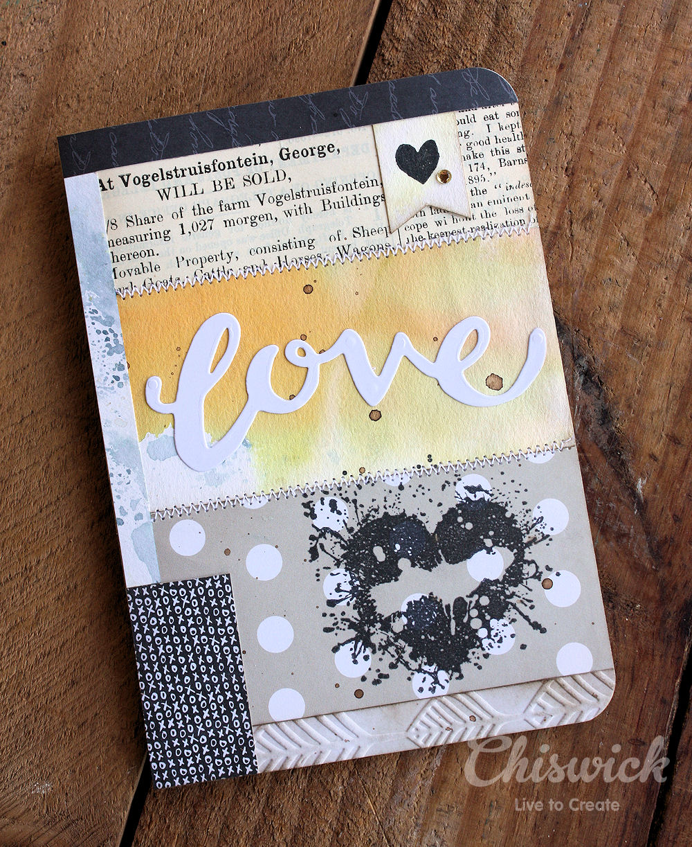 stamped heart card